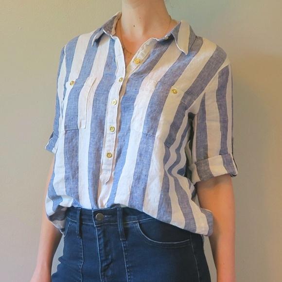 6fb85fbe5e  Ellen Tracy  Linen Tab Sleeve Striped Tunic M